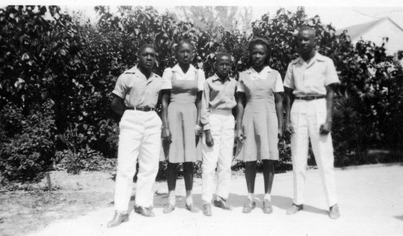 Students at Government High School in 1946 P.M. Lynden Pindling on far left.